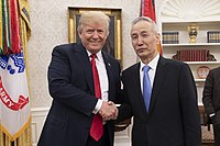 Chinese vice premier Liu He meeting with US president Donald Trump in May 2018. The two nations' deteriorating relations have been suggested as a cause for the Chinese government imposing more restrictions on Hong Kong.