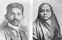 Gandhi (left) and his wife Kasturba (right) (1902)