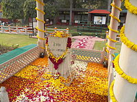 Memorial where Gandhi was assassinated in 1948. His stylised footsteps lead to the memorial.