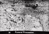 Gandhi's funeral was marked by millions of Indians.