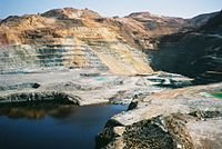A copper mine in Cyprus. In antiquity, Cyprus was a major source of copper.