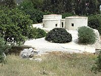 Archeologic site of Khirokitia with early remains of human habitation during Aceramic Neolithic period (reconstruction)