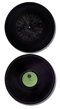 A multinational product: an operatic duet sung by Enrico Caruso and Antonio Scotti, recorded in the US in 1906 by the Victor Talking Machine Company, manufactured c.1908 in Hanover, Germany, for the Gramophone Company, Victor's affiliate in England