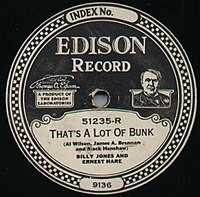 Edison Records Diamond Disc label, early 1920s. Edison Disc Records always ran at 80 rpm.