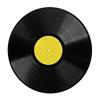 A typical 12-inch LP record.