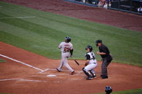 Bonds at the plate against the Rockies in 2007