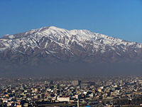 Kabul city, situated 5,900 ft above sea level in a narrow valley, wedged between the Hindu Kush mountains.