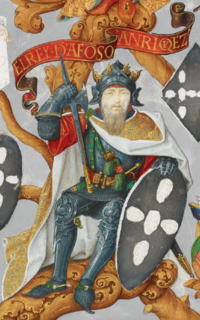 Afonso Henriques was the last Count of Portugal and the first King of Portugal after winning the Battle of Ourique in 1139. (Depicted in a 1530s illuminated manuscript)