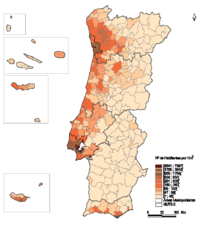 A map of Portugal showing the population density (number of inhabitants / km2) by municipality
