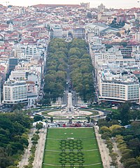 Avenida da Liberdade leading to Marquis of Pombal Square, Lisbon, is one of the most expensive shopping streets in Europe.