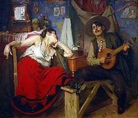 Fado, depicted in this famous painting (c. 1910) by José Malhoa, is Portugal's traditional music.