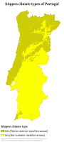 Köppen climate classification map of continental Portugal