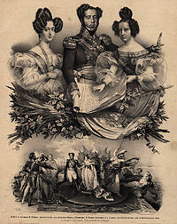 The frontispiece of the 1826 Portuguese Constitution featuring King-Emperor Pedro IV and his daughter Queen Maria II