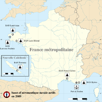Active naval air stations of the French naval air arm (status 2009). Two of them were deactivated in 2011.