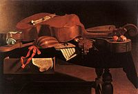 Baroque instruments, including a cittern, fretted five- or six-string cello, violin, and two lutes