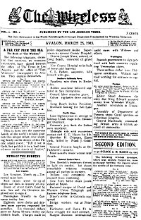 Front page of the debut (March 25, 1903) issue of the short-lived The Wireless, published in Avalon.