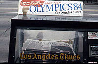Times Newspaper vending machine featuring news of the 1984 Summer Olympics
