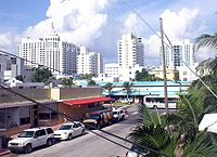 South Beach, view towards east from 15th Street near Washington Avenue with the Loews, St. Morritz and the Royal Palm Hotels in the background.