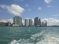 A portion of the southern part of the South Beach skyline as seen from Biscayne Bay