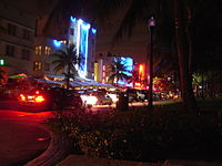 Ocean Drive on South Beach at night featuring The Beacon Hotel, The Colony Hotel