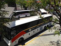 Buses at the Amtrak Thruway Motorcoach boarding area of Los Angeles Union Station.