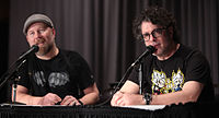 Christopher Sabat (left) and Sean Schemmel (right) have provided Funimation's English dub voices for Vegeta and Goku, respectively, since 1999.