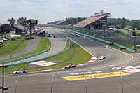 Cars dive into turn one during the 2014 Sahlen's Six Hours of The Glen