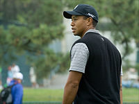 Tiger Woods walks off the 8th green at Torrey Pines during a practice round at the 2008 U.S. Open