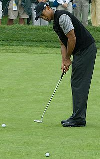 Woods putting at Torrey Pines Golf Course during a practice round at the 2008 U.S. Open