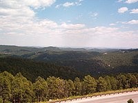 The Black Hills opposite Mount Rushmore.