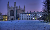 King's College Chapel, Cambridge (left) in the snow where the Nine Lessons and Carols are broadcast on the BBC and around the world on Christmas Eve
