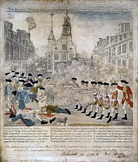 The Bloody Massacre Perpetrated in King Street Boston on March 5th, 1770, a copper engraving by Paul Revere modeled on a drawing by Henry Pelham, 1770.