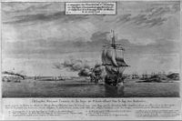 Drawing depicting the arrival of the French fleet in Narragansett Bay in 1778
