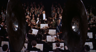 Herrmann conducting the orchestra in a scene from The Man Who Knew Too Much (1956)