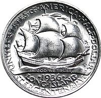 A commemorative half-dollar coin issued in 1936 for Long Island's tercentenary