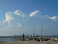 Cumulus congestus clouds over Long Island on a summer afternoon
