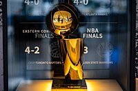 The Larry O'Brien Trophy won in 2016 on display at Rocket Mortgage FieldHouse