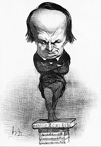A caricature of Victor Hugo by Honoré Daumier from July 1849. Hugo supported Louis Napoleon in the election for president, but after the coup d'état went into exile and became his most relentless and eloquent enemy.