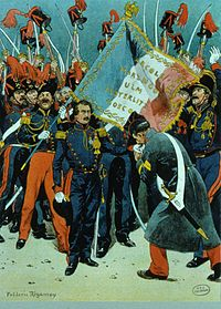 Louis Napoleon launching his failed coup in Strasbourg in 1836