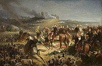 Napoleon III with the French forces at the Battle of Solferino, which secured the Austrian withdrawal from Italy. He was horrified by the casualties, and ended the war soon after the battle.