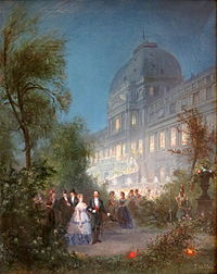 The Tuileries Palace during the gala soirée of 10 June 1867, hosted by Napoleon III for the sovereigns attending the Paris International Exhibition of 1867.