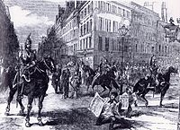 D'Allonville's cavalry patrolled Paris during Napoleon's 1851 coup. Three to four hundred people were killed in street fighting after the coup d'état.