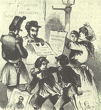 The 1848 presidential campaign pitted Louis Napoleon against General Cavaignac, the Minister of Defense of the Provisional Government, and the leaders of the socialists.