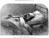 Napoleon III after his death, wood-engraving in The Illustrated London News of 25 January 1873, after a photograph by Mssrs. Downey