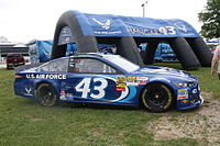 Almirola's 2013 Sprint Cup car, in the same Air Force scheme he took to victory lane at Daytona in 2014