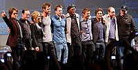 The cast of The Avengers at the 2010 San Diego Comic-Con, with Joss Whedon and Kevin Feige