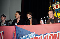 Chris Evans, Tom Hiddleston, Cobie Smulders, and Clark Gregg promoting the film at the 2011 New York Comic Con