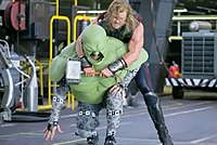 Mark Ruffalo as the Hulk (bottom) wearing a motion capture suit and prosthetics on his upper half to simulate the Hulk's size
