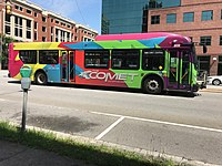 A COMET transit bus in downtown Columbia