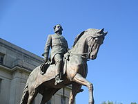 Equestrian statue in Columbia of General and later Governor Wade Hampton, III, known for his opposition to Reconstruction